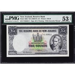 Reserve Bank of New Zealand. ND (1960-67), 5 Pounds. P-160d. PMG About Uncirculated 53 EPQ.