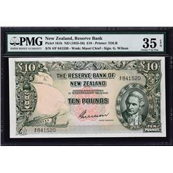 Reserve Bank of New Zealand. ND (1955-56), 10 Pounds. P-161b. PMG Choice Very Fine 35 EPQ.