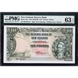 Reserve Bank of New Zealand. ND (1956-60), 10 Pounds. P-161c. PMG Choice Uncirculated 63 EPQ.