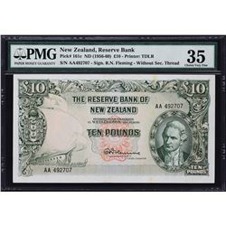 Reserve Bank of New Zealand. ND (1956-60), 10 Pounds. P-161c. PMG Choice Very Fine 35.