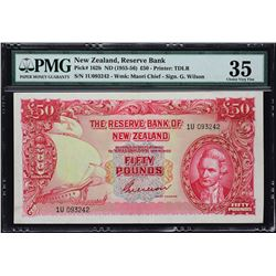 Reserve Bank of New Zealand. ND (1955-56), 50 Pounds. P-162b. PMG Choice Very Fine 35.