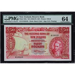 Reserve Bank of New Zealand. ND (1956-67), 50 Pounds. P-162c. PMG Choice Uncirculated 64.