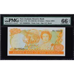 Reserve Bank of New Zealand. ND (1981-85), 50 & 100 Dollars. P-174b & 175b. PMG Gem Uncirculated 66