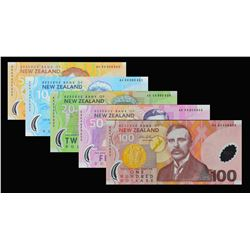 Reserve Bank of New Zealand. 2004, 5 to 100 Dollars. P-185b to 189b. Gem Uncirculated.