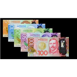 Reserve Bank of New Zealand. 2015-16, 5 to 100 Dollars. P-191a to 195a. Gem Uncirculated.