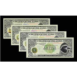 Chatham Islands Local Notes. 1999A, 2, 3, 10 & 15 Dollars. 2001 3, 5, 8, 10, & 15 Dollars