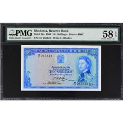 Reserve Bank of Rhodesia. 16.11.1964, 10 shillings & 1 Pound. P-24a & 25a. PMG Graded.