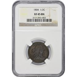 1804 C-13. Plain 4. No Stems. Rarity-1. EF-45 BN NGC