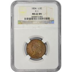 1834 C-1. Rarity-1. MS-62 BN NGC.