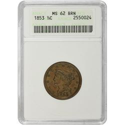 1853 C-1. Rarity-1. MS-62 BN ANACS.