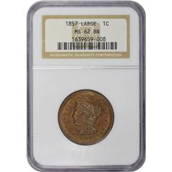 1857 N-2. Small Date. MS-62 BN NGC.