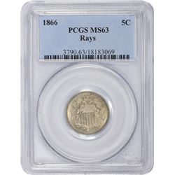 1866 Rays. MS-63 PCGS.