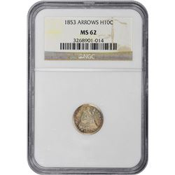 1853 Arrows. MS-62 NGC.