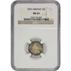 1853 Arrows. MS-63 NGC.