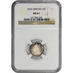 1874 Arrows. MS-61 NGC.