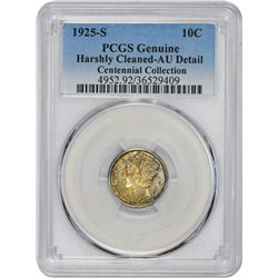 1925-S Genuine-Harshly Cleaned  -AU Details PCGS.