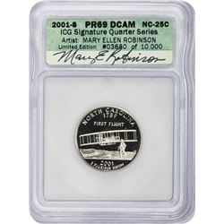 2001-S North Carolina. Clad. Proof-69 DCAM. ICG Artist Signature Series.