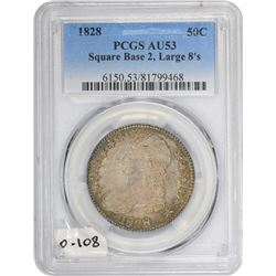 1828 O-108. Large 8s, Square Base 2. AU-53 PCGS.