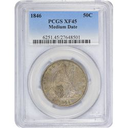 1846 Medium Date. EF-45 PCGS.