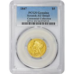 10270 1847 Genuine – Scratch – AU Details PCGS.