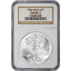 1986 American Eagle $1. MS-69 NGC.