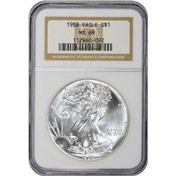 1988 American Eagle $1. MS-69 NGC.