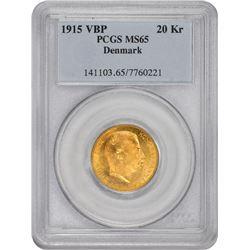 Denmark. Frederik VIII. 1915-VBP 20 Kroner. Gold. MS-65 PCGS.