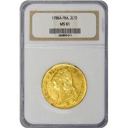 France. Louis XVI. 1786-A Paris Mint. 2 Louis d'Or. Gold. MS-61 NGC.