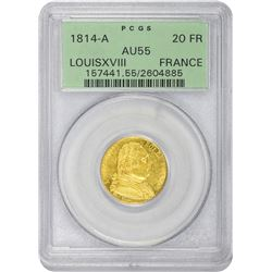 France. Louis XVIII. 1814-A Paris Mint. 20 Francs. Gold. AU-55 PCGS. OGH.