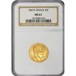 France. Napoleon III. 1867-A Paris Mint. 20 Francs. Gold. MS-61 NGC.