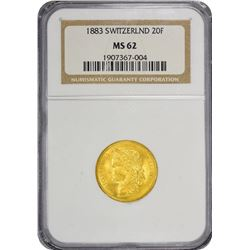Switzerland. 1883 20 Francs. Gold. MS-61 NGC.