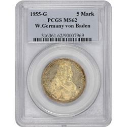 West Germany. 1955-G Karlsruhe Mint. 5 Marks. Silver. Ludwig von Baden. MS-62 PCGS.