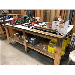 8' X 4' WOOD WORK BENCH WITH CONTENTS OF LOWER SHELF