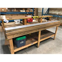 8' X 4' WOOD WORK BENCH WITH CONTENTS