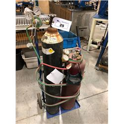 OXYACETYLENE CART WITH GAUGES AND HOSE, TANKS NOT INCLUDED