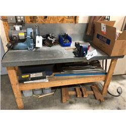 WORK BENCH WITH VICE AND CONTENTS
