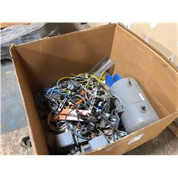 CRATE OF ASSORTED MOTORS, PNEUMATIC COMPONENTS, AND MORE