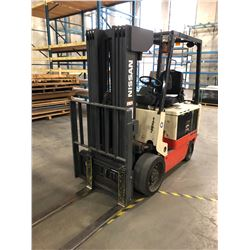 NISSAN 3500 LB ELECTRIC FORKLIFT WITH TILT, SIDE SHIFT, MODEL CWGP02L30FS, SOLID TIRES, 14941 HOURS