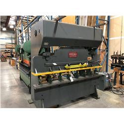CHICAGO MODEL 68-C 50 TON CAPACITY, 8' BRAKE PRESS, 10 GAUGE OVER 1 1/8'', PUNCHES/DIES NOT