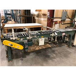 BELCO PNEUMATIC PACKAGE EJECTOR SYSTEM WITH HYTROL 10' MOTORIZED CONVEYOR