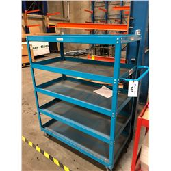BLUE 5 TIER MOBILE WAREHOUSE RACK