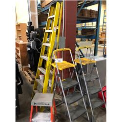 LOT OF LADDERS AND STEP LADDERS
