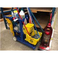 LOT OF JANITORIAL SUPPLIES AND CART