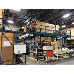 HEAVY DUTY MODULAR WAREHOUSE MEZZANINE, APPROX 41' LONG X 24' WIDE, WITH APPROX. 20' LONG BRIDGE,