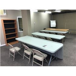CONTENTS OF LARGE DOWNSTAIRS OFFICE INC. FOLDING TABLES, CHAIRS, SHELVES AND MORE, INCLUDES DITEC