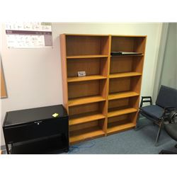 2 MAPLE BOOKSHELVES, MOBILE FILE CABINET & 2 STACKING CHAIRS