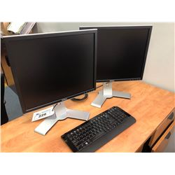 2 DELL LCD MONITORS & KEYBOARD