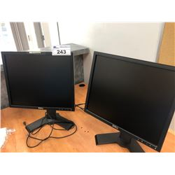 PAIR OF DELL LCD MONITORS, APC BACKUP BATTERY, ASSORTED HEATERS, PAPER SHREDDER, LAPTOP BAG & MORE
