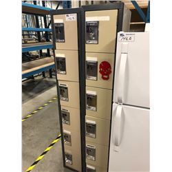 PAIR OF 6 BAY METAL LOCKERS