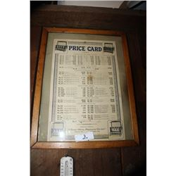1927 Price Card, The Sheet Metal Products Co